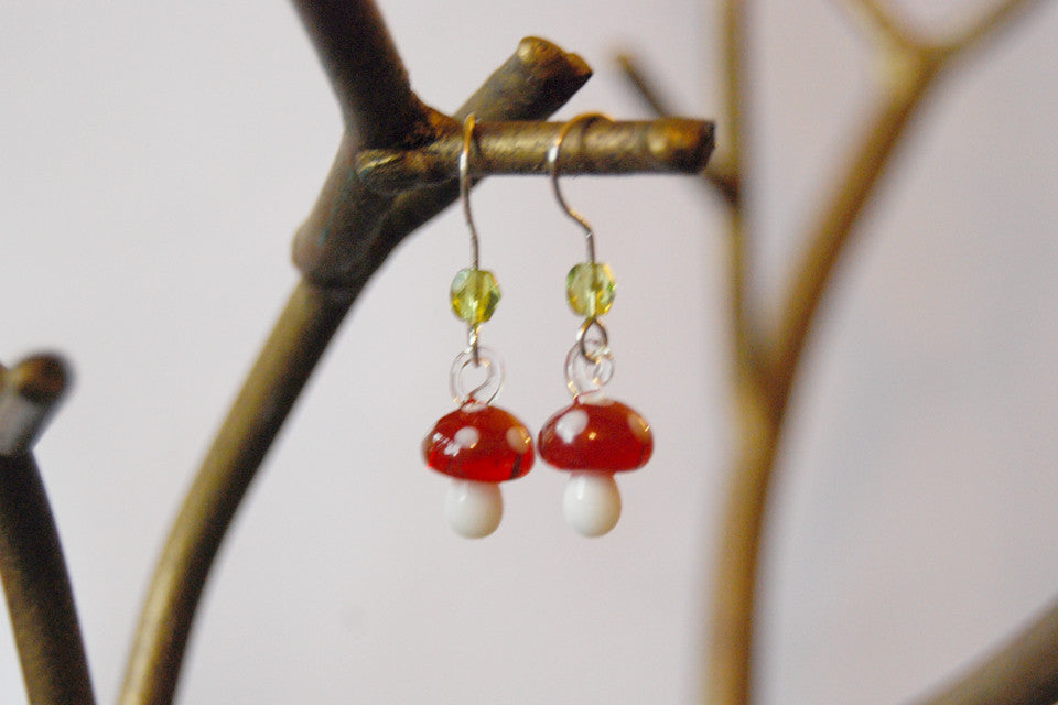 Tiny Glass Mushroom Earrings