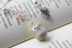 Green and Pink Owl Necklace