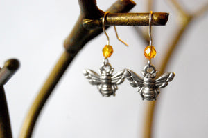 Tiny Silver Bee Earrings