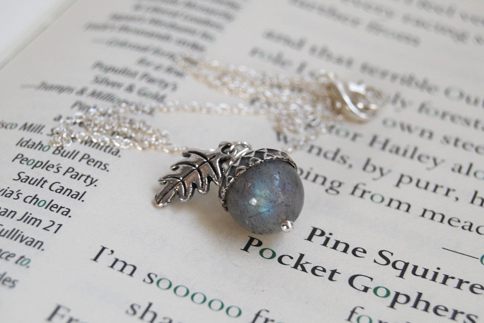 labradorite acorn necklace