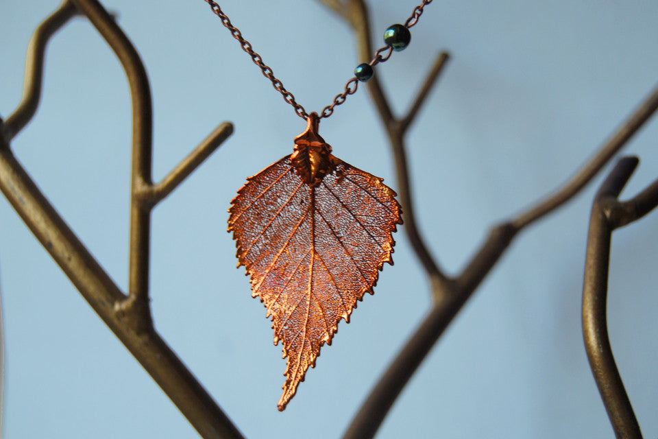 Copper Real Birch Leaf Necklace