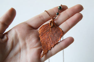 Large Fallen Copper Birch Leaf Necklace