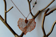 Medium Fallen Copper Cottonwood Leaf Necklace