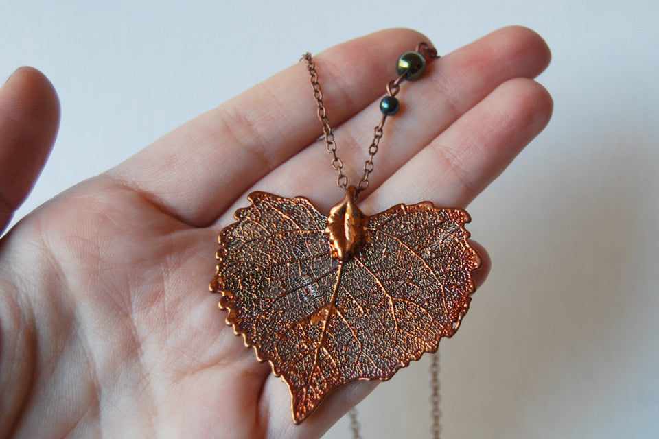 Real Copper Cottonwood Leaf Necklace