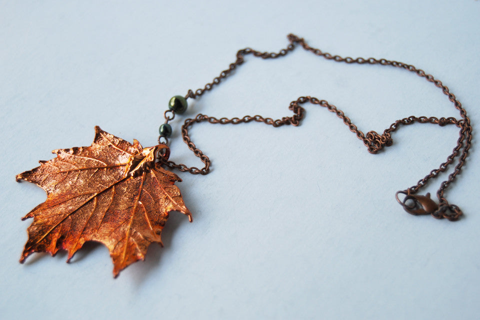 Real Copper Maple Leaf Necklace