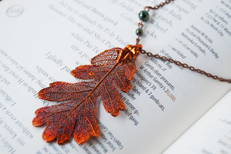 Real Copper Oak Leaf Necklace