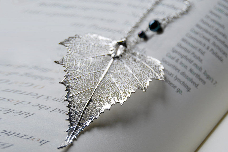 Real Silver Birch Leaf Necklace