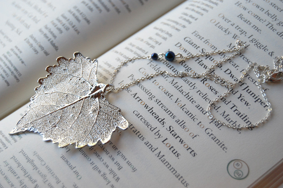Real Silver Cottonwood Leaf Necklace