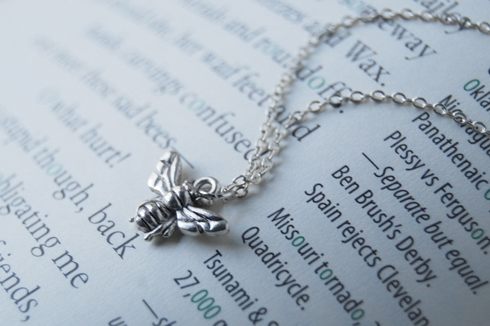 Tiny Silver Bee Charm Necklace