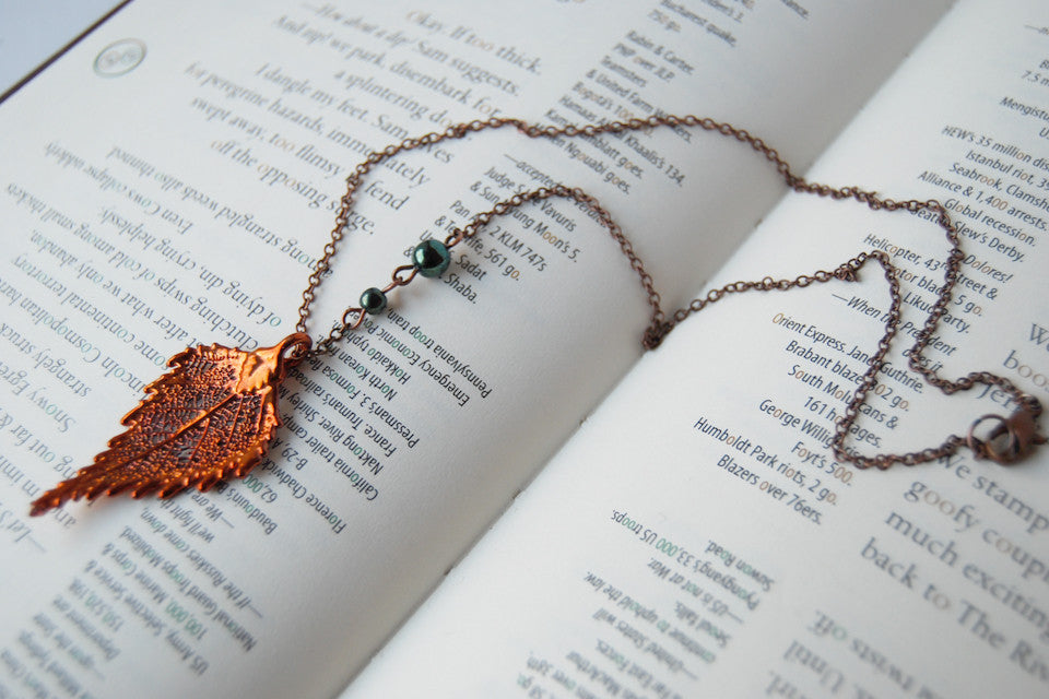 Medium Fallen Copper Birch Leaf Necklace