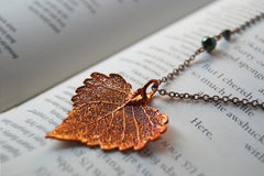 Small Fallen Copper Cottonwood Leaf Necklace