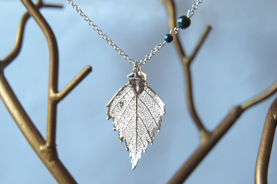 Medium Fallen Silver Birch Leaf Necklace