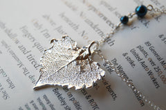 Small Fallen Silver Cottonwood Leaf Necklace