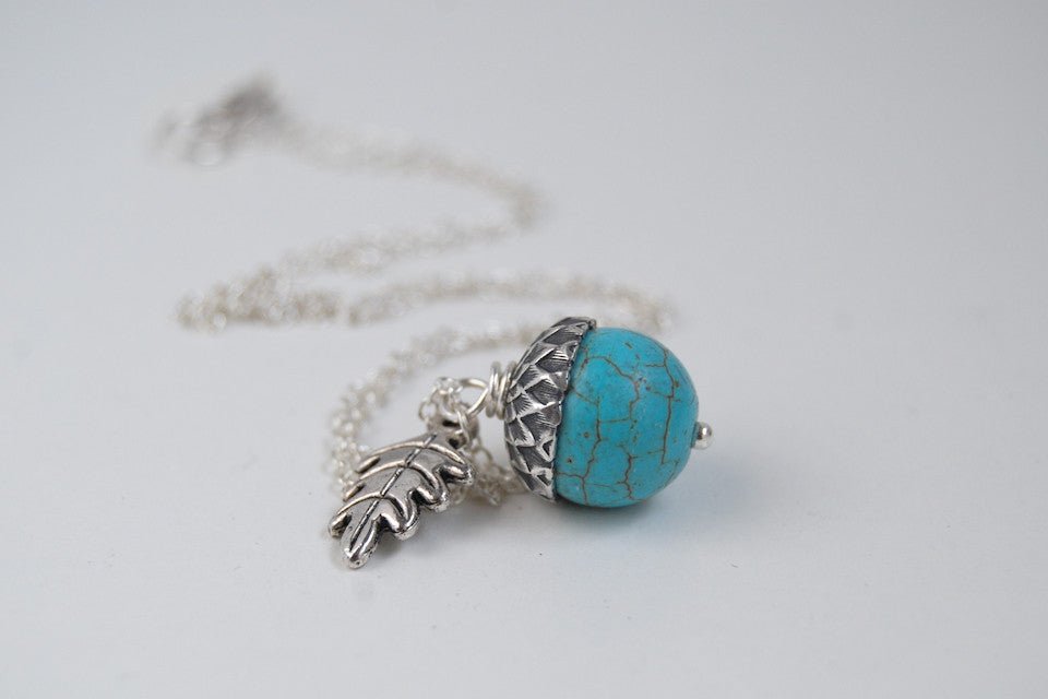 turquoise acorn necklace