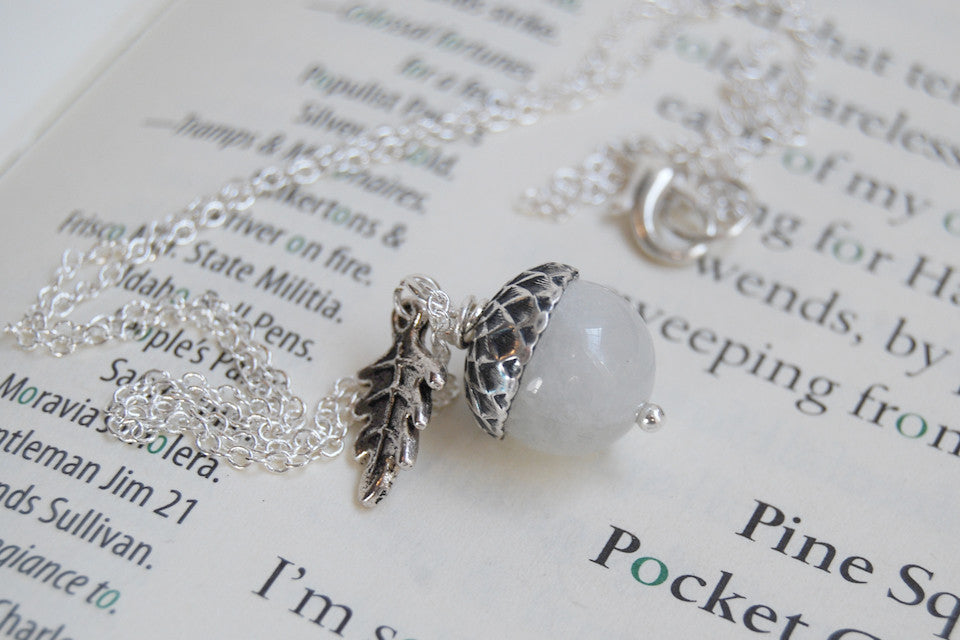 moonstone acorn necklace