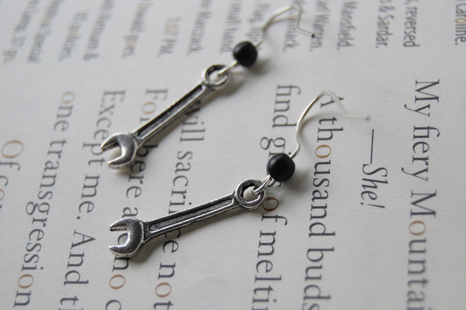 Tiny Silver Wrench Earrings