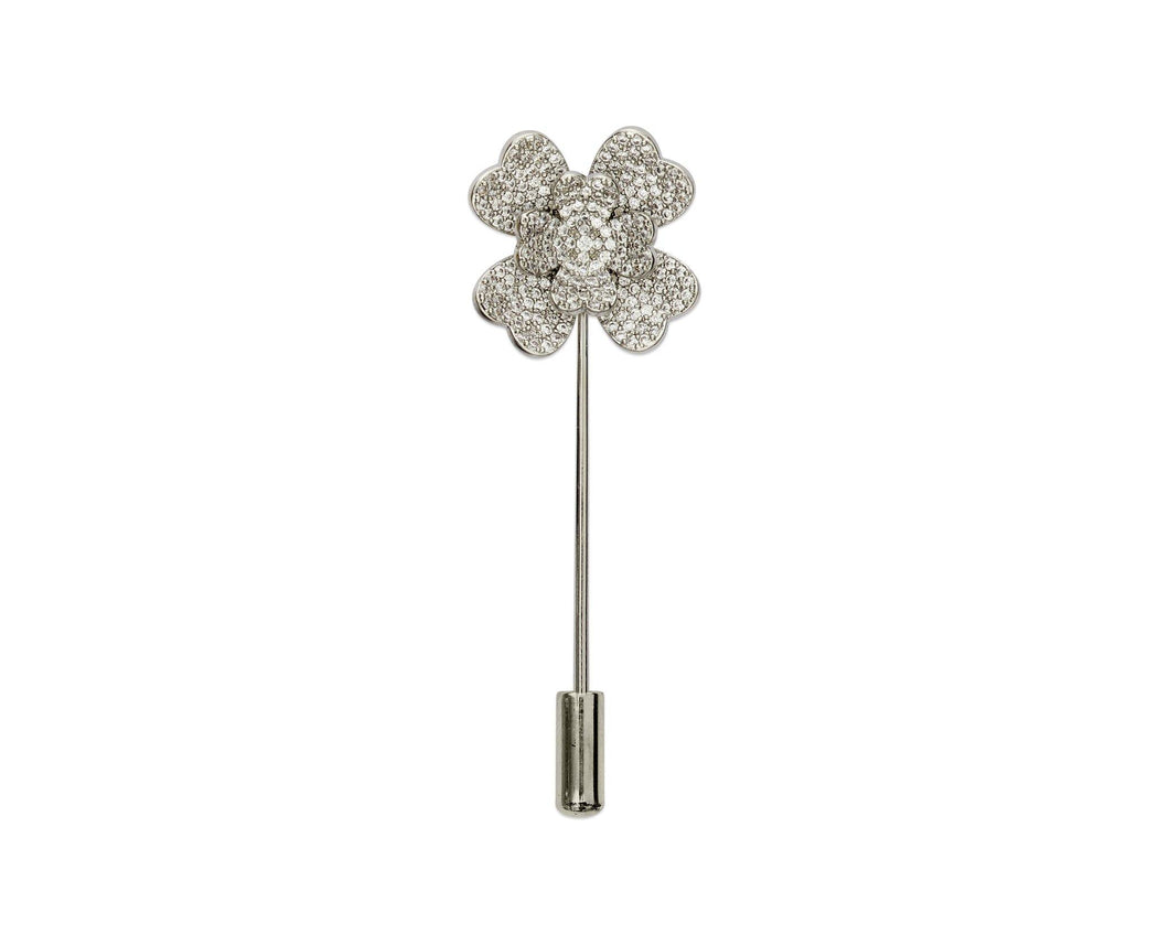 Silver Flower Lapel Pin - InclusiveJewelry