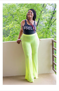 Neon green sheer swim pants