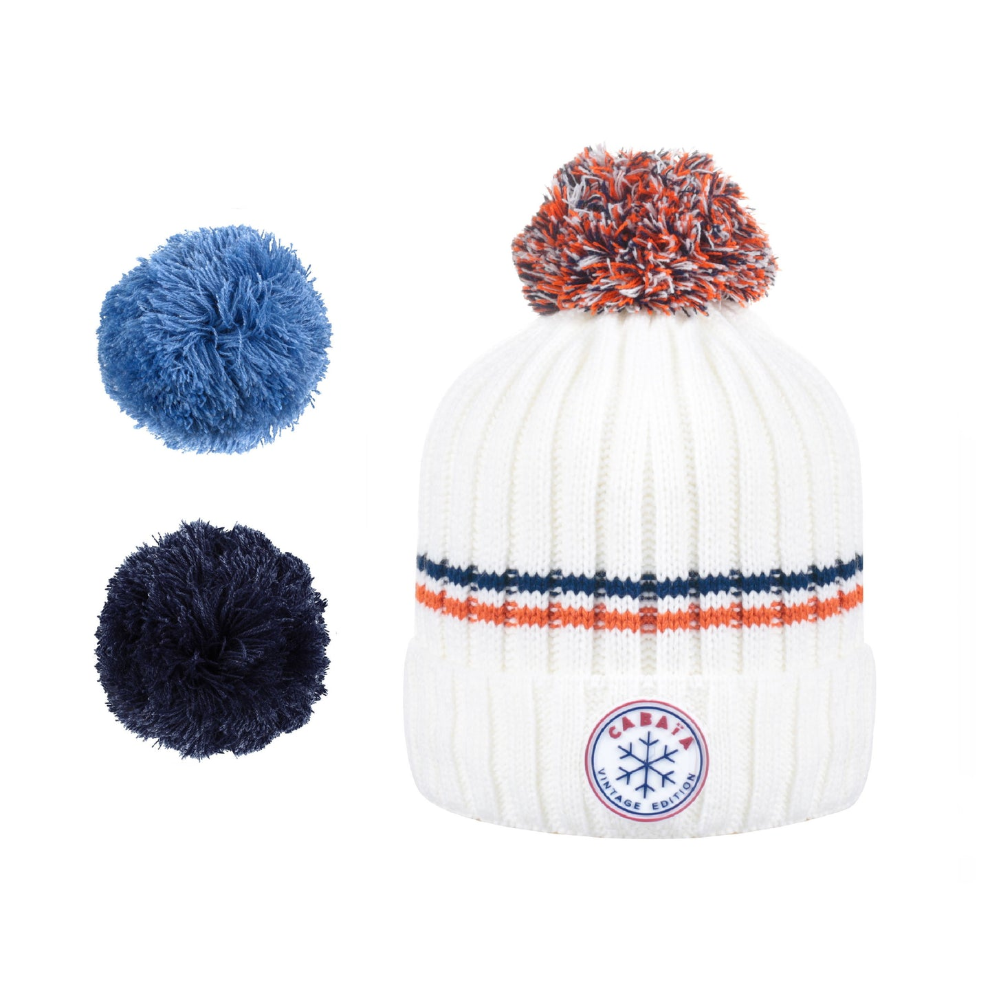 gorro Cabaïa con pompones francés hombres mujeres made in France blanc