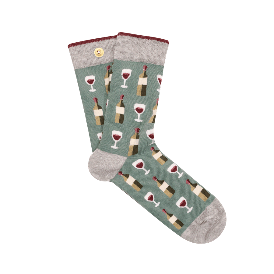 Men's inseparable socks with wine bottle pattern
