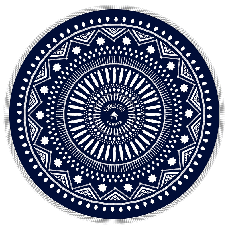 Rectangular towel with mandala print