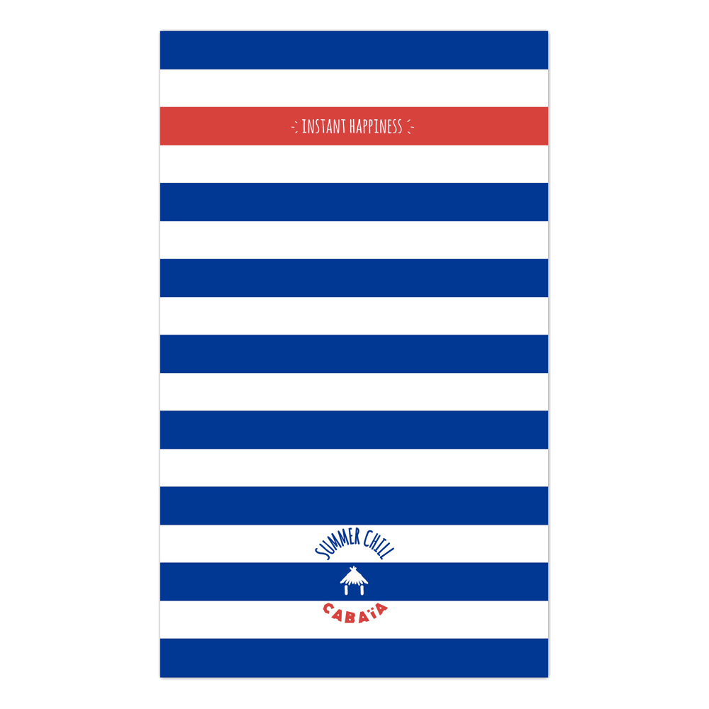 Rectangular towel with white blue red print