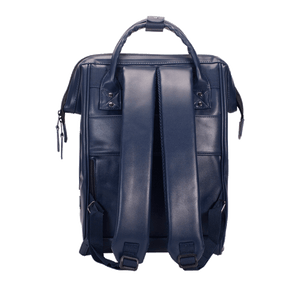 Navy backpack Cabaïa Milan with his luggage clip and his reinforced shoulder straps