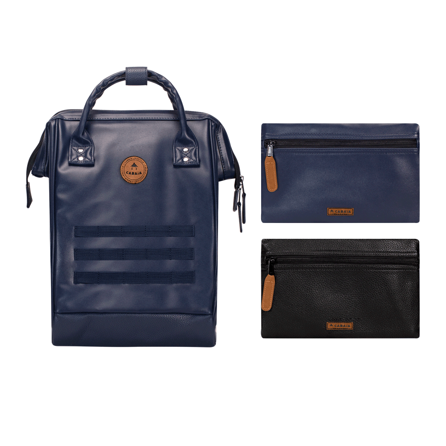 Navy backpack Cabaïa with two interchangeable pockets
