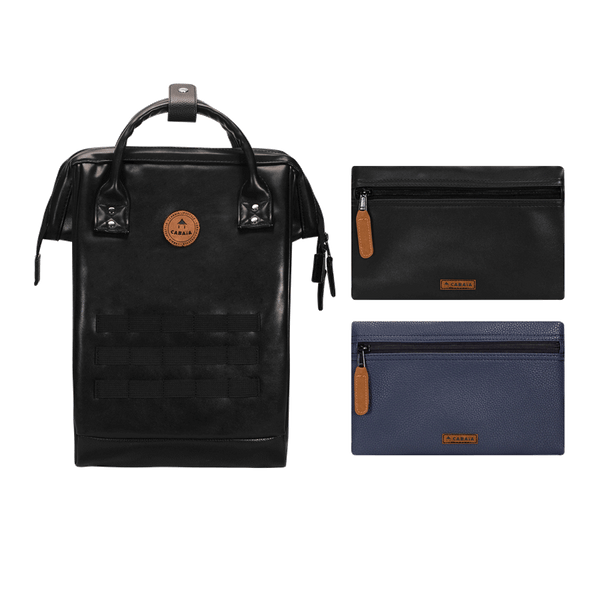 Load image into Gallery viewer, Black backpack Cabaïa Tokyo with two interchangeable pockets