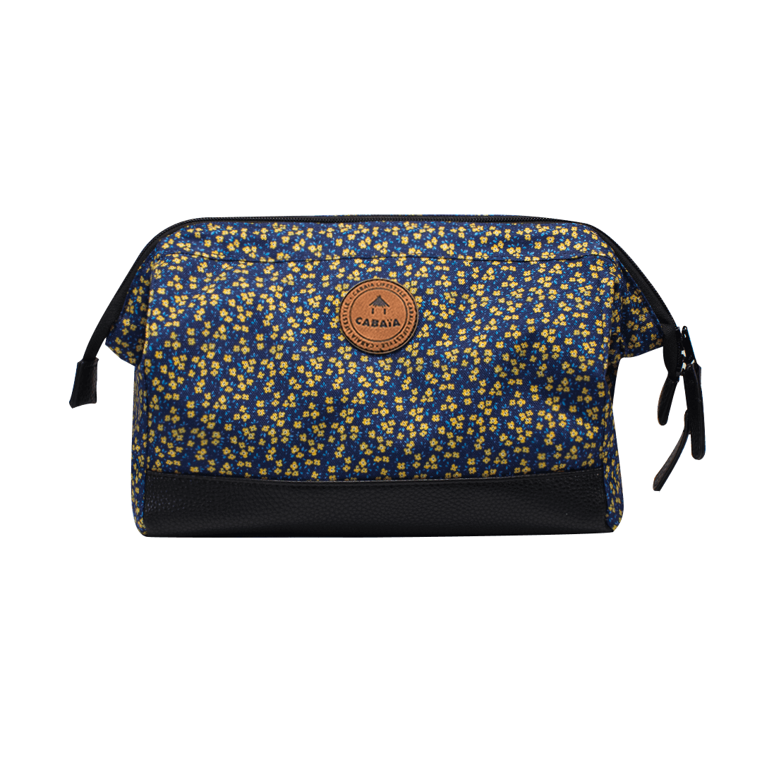 Las Ramblas - Travel Kit Cabaïa to carry all your toiletries, pattern of flowers blue and yellow,handy storage and colourful waterproof fabric