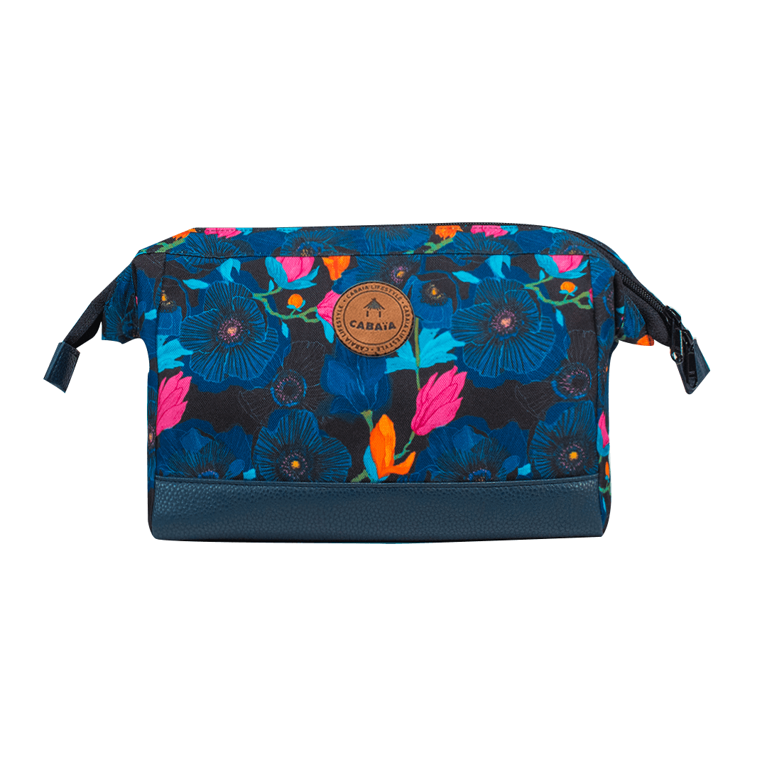 Ocean Drive - Travel Kit Cabaïa Blue with tropical flowers print to carry all your toiletries, handy storage and colourful waterproof fabric