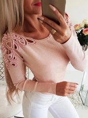Pearl Embellished Hollow Out Top