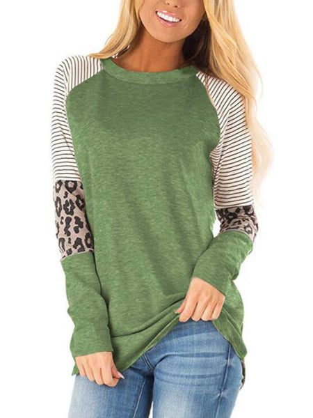 Long Sleeve Striped Leopard Stitching Tops