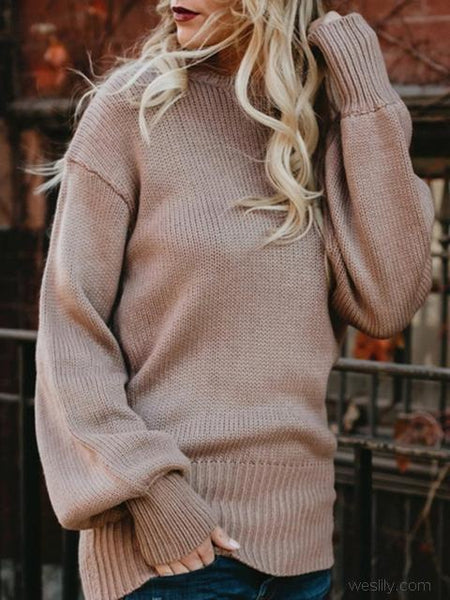 Back Straps Solid Color Knitted Lightweight Sweater