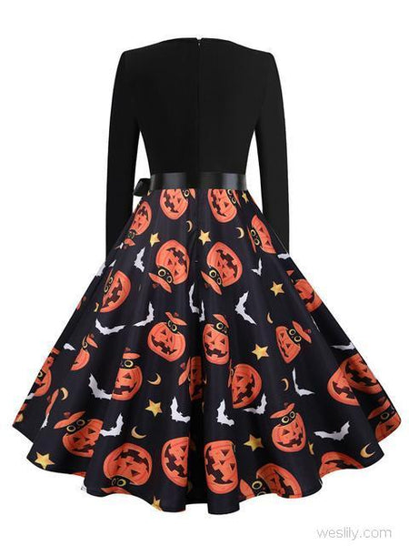 Halloween Pumpkin Print V-neck Dress