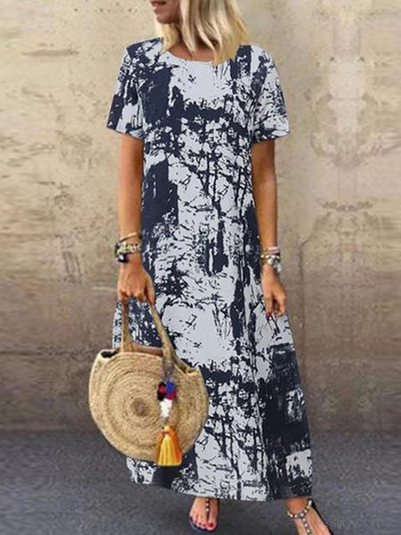 Tie-dye Print Retro Long dress