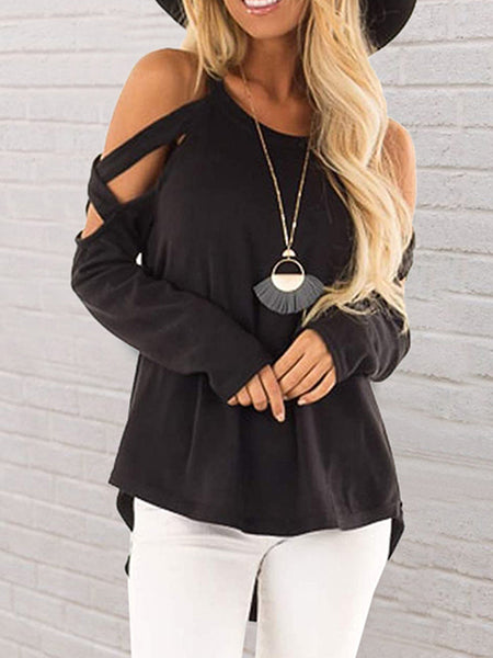 Solid Color Cross Off Shoulder Top