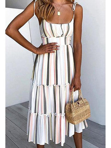 Halter Strapless Striped Printed Dress