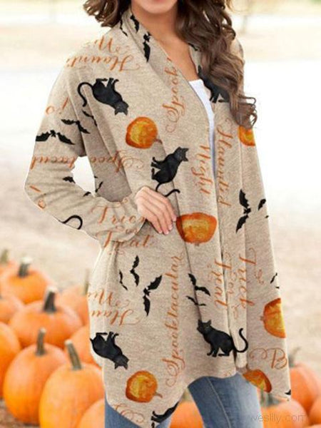 Halloween Animal Pumpkin Print Cardigan
