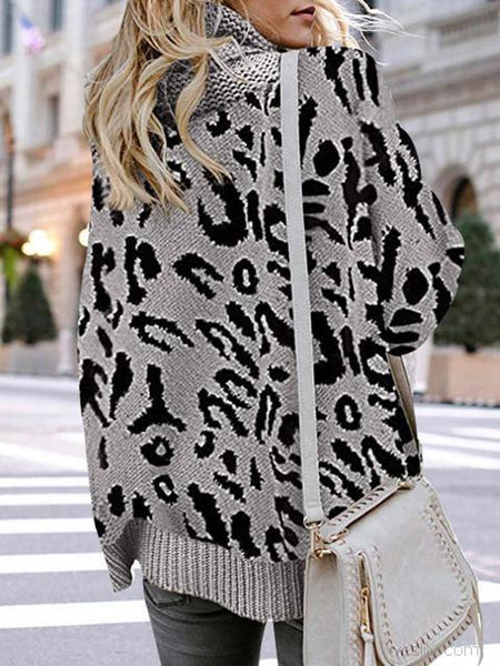 Leopard Print Turtleneck Sweater