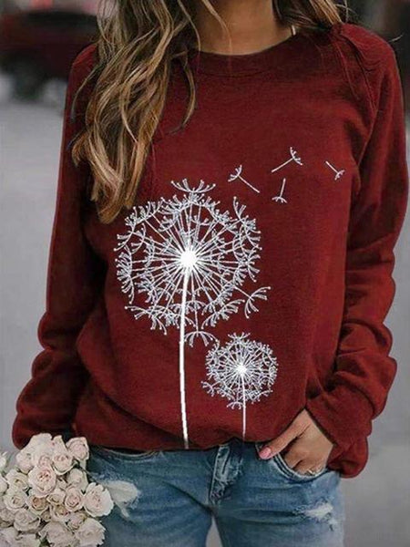 Dandelion Printed Casual Round Neck Top