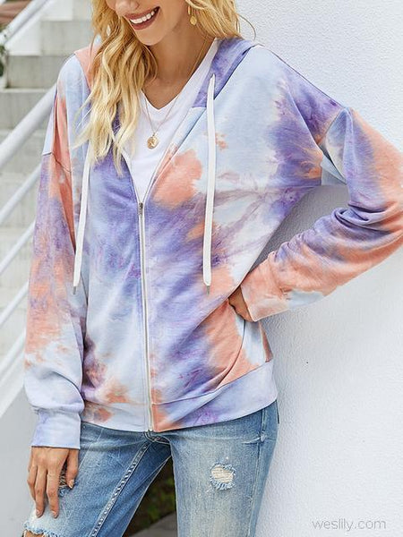 Tie-dye Print Zipper Cardigan Coat