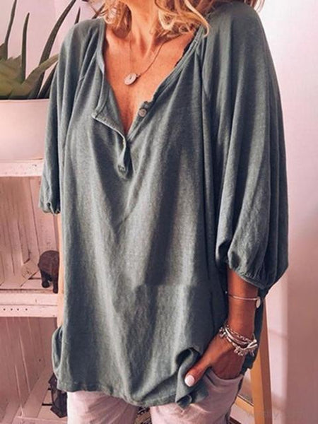 Button Neckline Short Sleeved Cotton Top