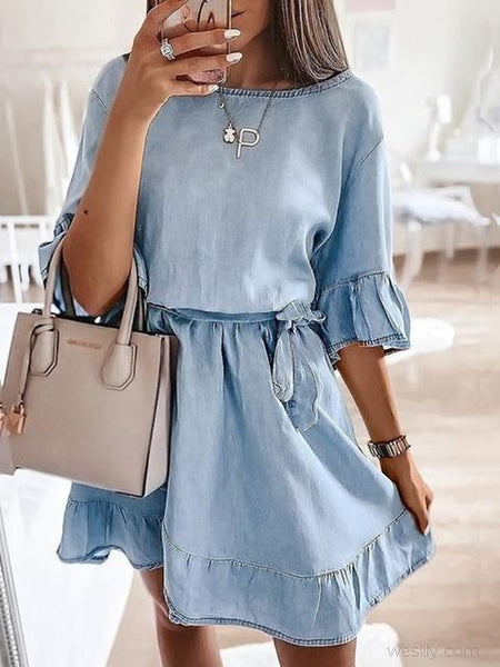 Ruffle Round Neck Casual Dress