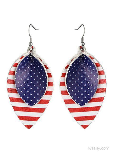 Flag Print Leather Simple Earrings