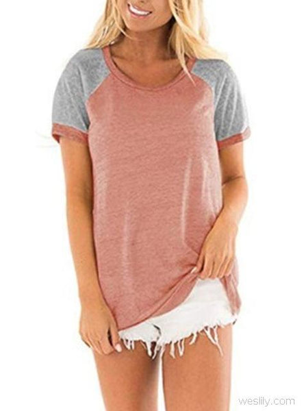 Color Block Stitching Short Sleeve Tops