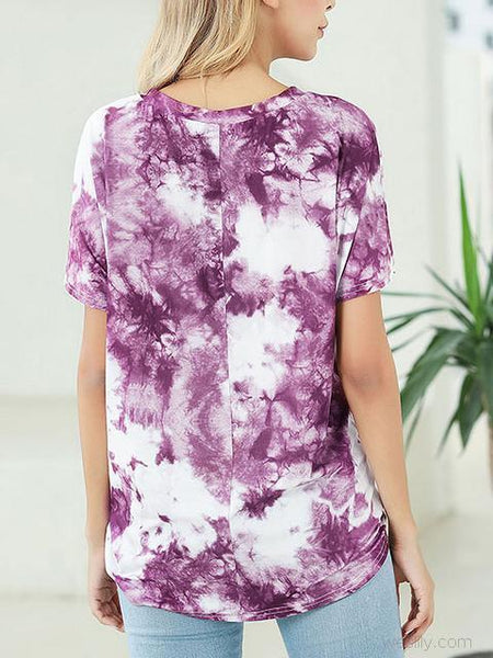 Tie Dye Print Short Sleeve Twisted T-shirt