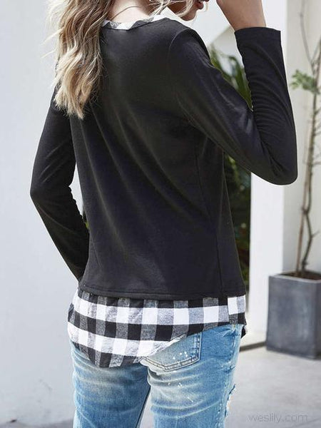 Plaid Stitched Long Sleeve Sweatshirt