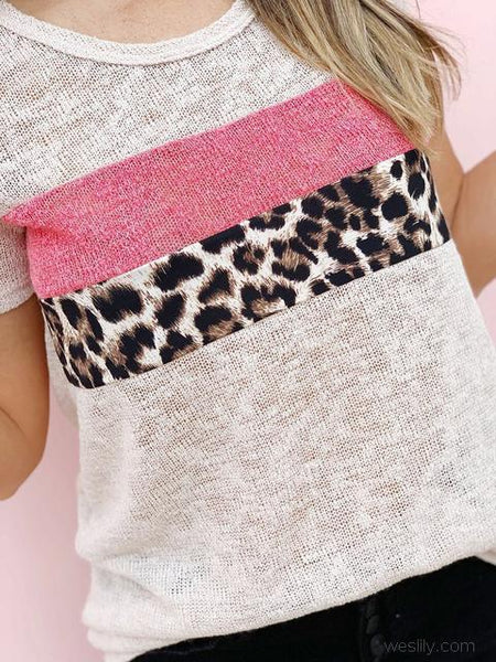 Leopard Stitching Short Sleeve Tops