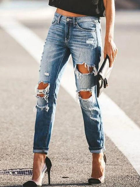 High waist Hole Straight Jeans
